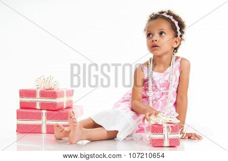 Little Mulatto Girl With Pink Gift Box. Birthday Present. Shopping. Prize, Win, Event.