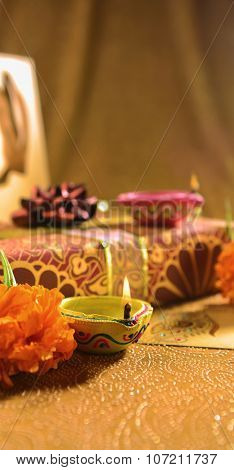 Diwali gift and Hindu festival background.