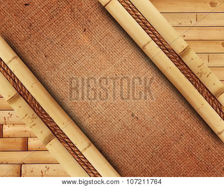 Frame Made Of Bamboo With Burlap