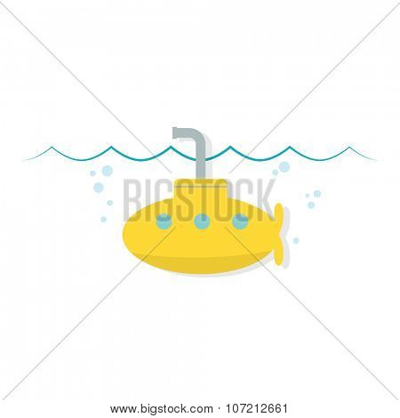 Yellow cartoon simple submarine