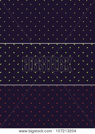 Vector seamless patterns or textures set with polka dots on violet background.