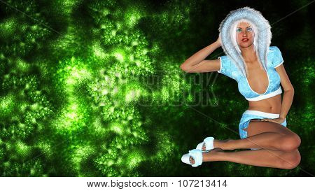 Figure of beautiful sexy Snow Maiden on bright color background.