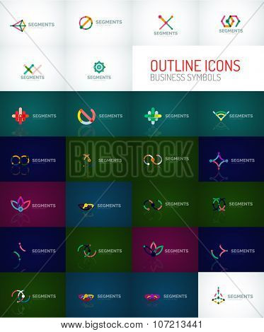 Set of outline line minimal abstract geometric logos, linear business icons made of line segments, elements. Vector illustration of loop, inifnity concepts and other