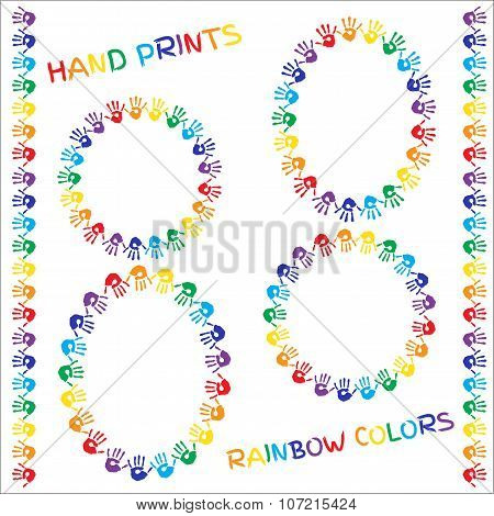 Set Of Frames And Borders. Hand Prints In Rainbow Colors On White Background. Vector Illustration.