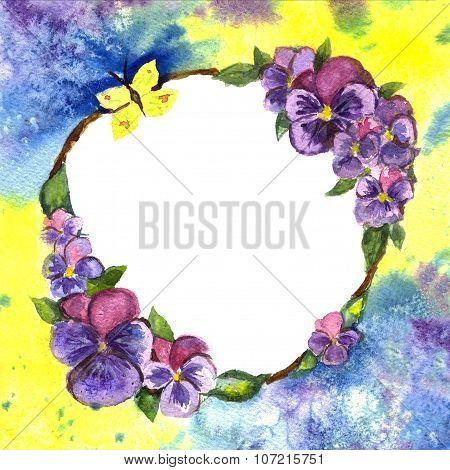 Pansies Watercolor.wreath Of Flowers Watercolor