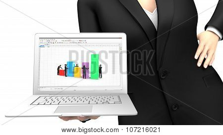 Business woman showing a laptop with a spreadsheet application