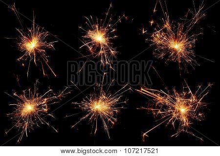 Set of Christmas sparkler on black background.