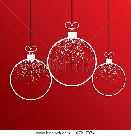 Vector Winter Holiday Illustration Of Christmas Balls