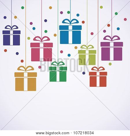 Vector Greeting Card With Hanging Gift Boxes