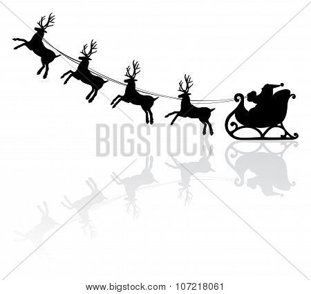 Vector Holiday Illustration Of Santa And Deers