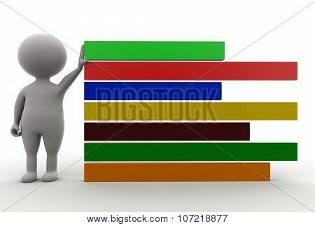 3D Man Presenting Bar Static Graph Concept