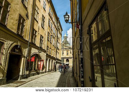 Street Leading To The Square Stortorget In Stockholm In Gamla Stan.sweden.