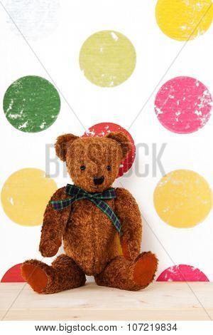 vintage bear on colorful background