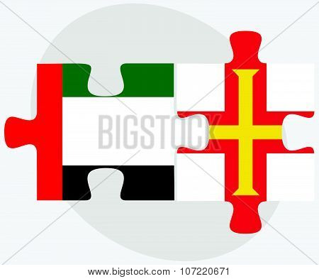 United Arab Emirates And Guernsey Flags