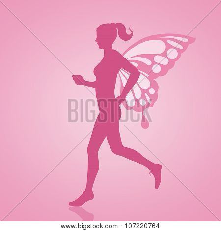 Running Woman With Wings For Breast Cancer Race