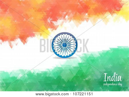 watercolor background for Indian independence day. Background of stylized watercolor drawing the fla