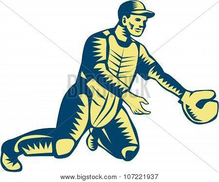 Baseball Catcher Catching Woodcut