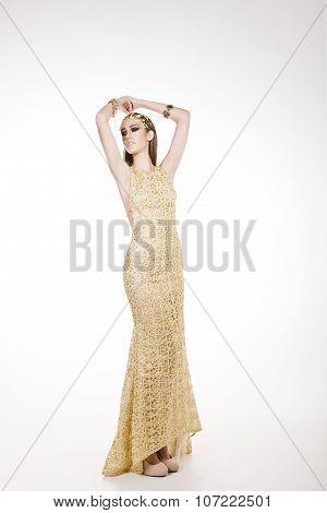 Ravishing Model In A Long Yellow Dress