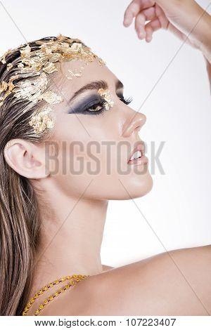 A Closeup Shot Of A Fashionable Brunette