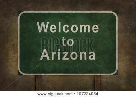 Welcome To Arizona Roadside Sign Illustration