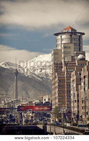 Navab Buildings And Milad Tower In Front Of Alborz Mountains In Tehran Capital Of Iran