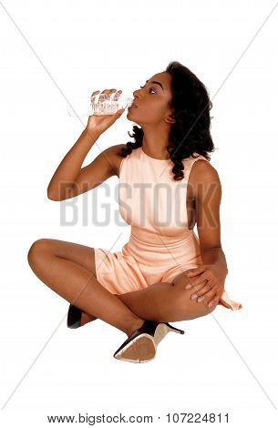 African American Woman Drinking Water.