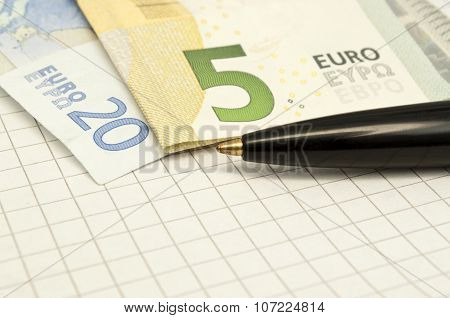 Pen And Euro Banknotes