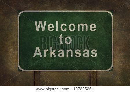 Welcome To Arkansas Roadside Sign Illustration