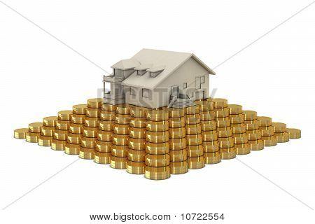 House on coins pyramid