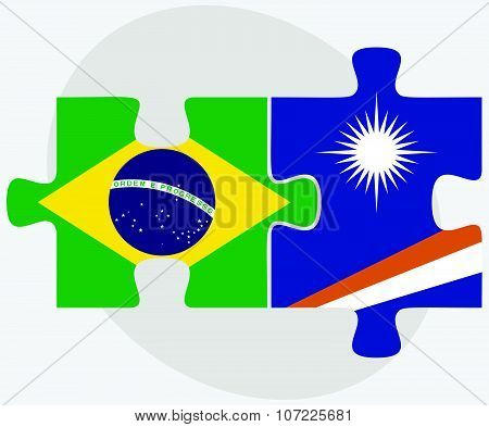 Brazil And Marshall Islands Flags