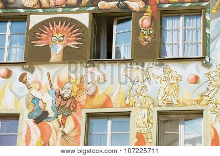 Exterior of the old fresco on the medieval building wall in Lucern, Switzerland.