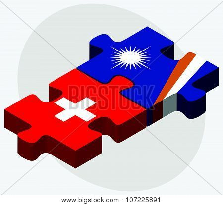 Switzerland And Marshall Islands Flagsswitzerland And Marshall Islands Flags