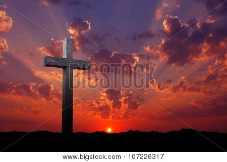 Old Wooden Cross At Sunrise
