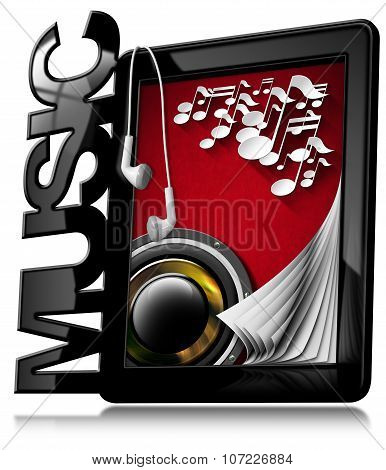 Music - Tablet Pc With Earphones