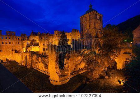 Schloss Heidelberg with golden lights during night