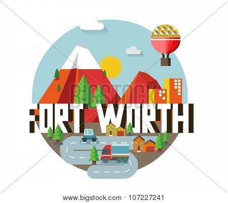 Fort Worth in colorful poster design.