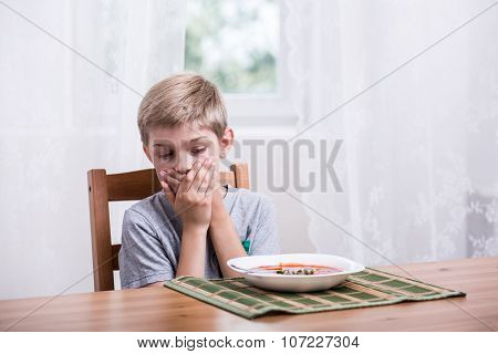 Little Boy Doesn't Want To Eat Soup