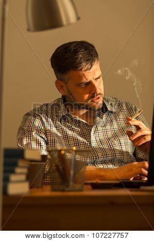 Worried Guy Smoking Cigarettes