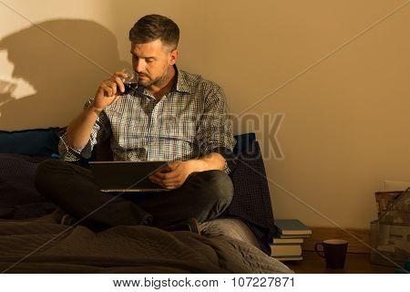 Handsome Male Drinking Wine