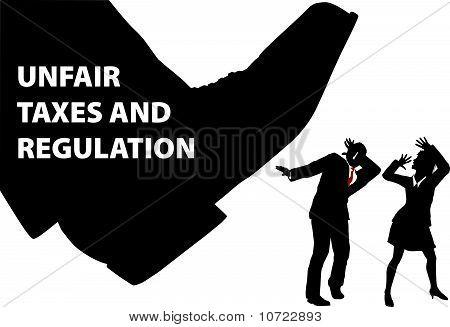 Gov Steuer Fuß Schritte unten auf Geschäftsleute