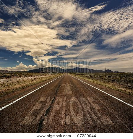 Conceptual Image Of Road With The Word Explore