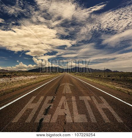 Conceptual Image Of Road With The Word Health