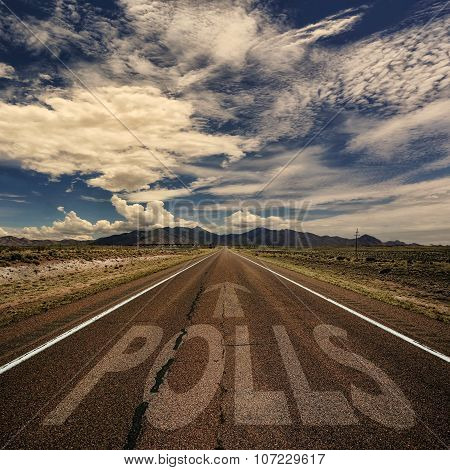 Conceptual Image Of Road With The Word Polls