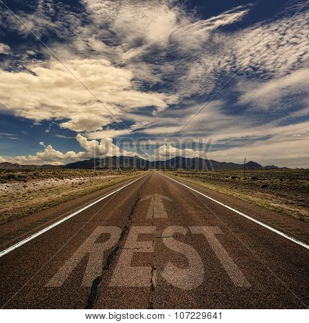 Conceptual Image Of Road With The Word Rest