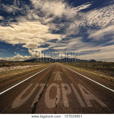Conceptual Image Of Road With The Word Utopia