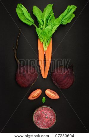 Detox Concept, Fresh Ingredients On Black Background.