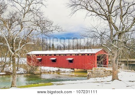 Snowy Covered Bridge And Sycamores