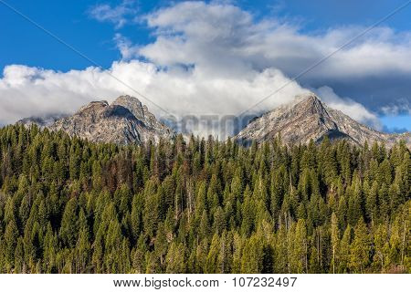 Two Mountain Peaks In Idaho.