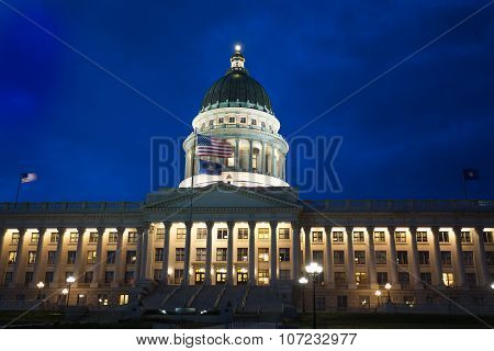 Beautiful Utah Capitol building during night