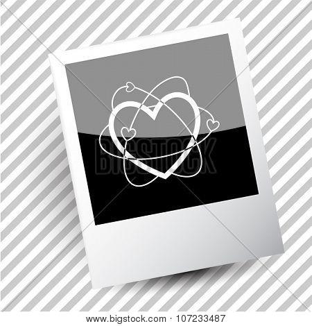 atomic heart. Photoframe. Vector icon.
